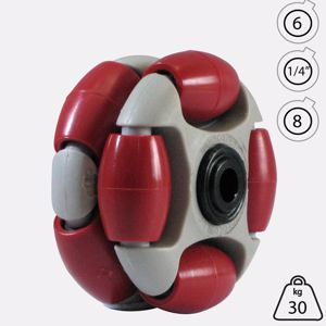 Picture of Rotacaster 48mm Double 90A Firm Polyurethane Roller 6mm Acetal Bearing