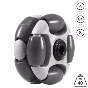 Picture of Rotacaster 48mm Double 90A Hard Polymer Roller 6mm Acetal Bearing